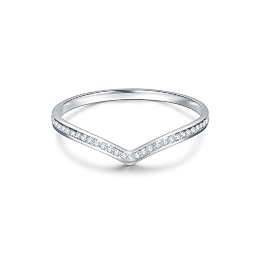 Carleen 18k Solid White Gold 0.075ct Diamond Pave Ring Channel Setting Wedding Band Delicate Fine Jewelry For Women Girls, Size 6