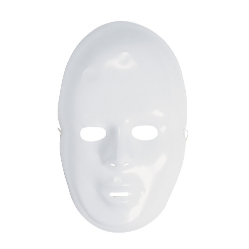 12-pack Plastic Halloween White Drama Party Kids Face Masks -