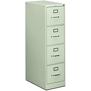 HON 4 Drawer Letter File   Full Suspension Filing Cabinet With Lock, 52 By  25 Inch Light Gray (H514)
