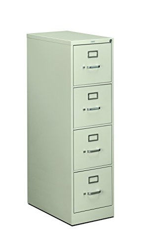 HON 4-Drawer Letter File - Full-Suspension Filing Cabinet with Lock, 52 by 25-Inch Light Gray (H514)