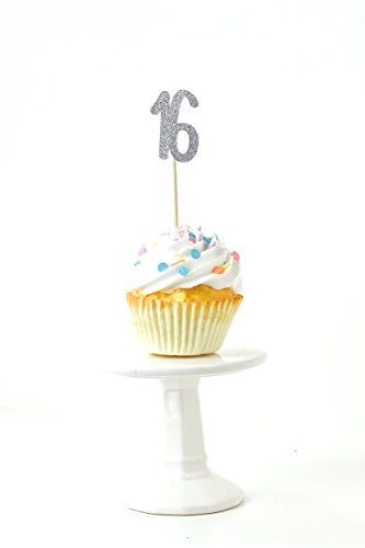 Number 16 Silver Glitter Cupcake Toothpick Toppers