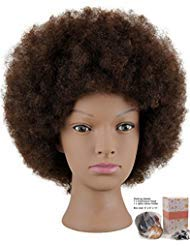 Kalyx Beauty Collection Mannequin Head African American with 100% Human Hair Cosmetology Afro Hair Manikin Head for Practice Styling Braiding price tips cheap