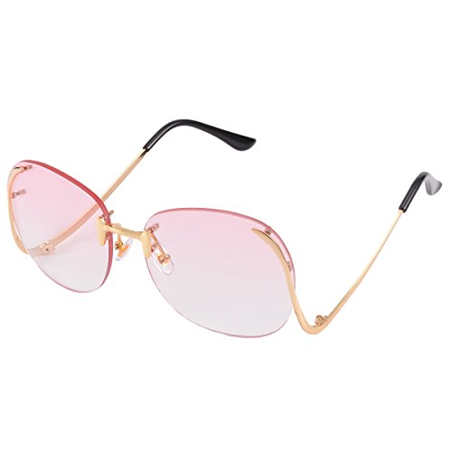 COASION Vintage Oversized Rimless Round Sunglasses for Women Clear Lens Glasses (Pink, - Sunglasses Rimless Vintage