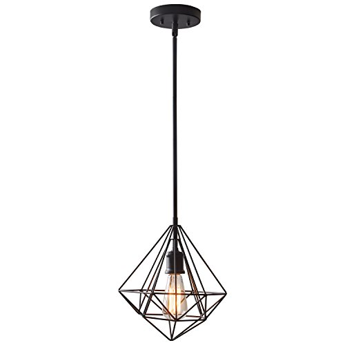 "Industrial Caged Pendant With Rivets: Rivet Industrial Geometric Cage Light With Bulb, 14.75""-62"