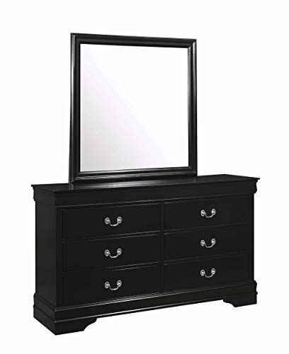 Coaster Louis Philippe 6 Drawer Double Dresser in Black and Nickel