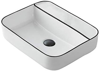 DS- バスルームの洗面台、正方形セラミック(タップ無し)カウンタ上流域ホーム浴室技術流域単一流域、50X40X14cm 洗面ボール && (Color : White)
