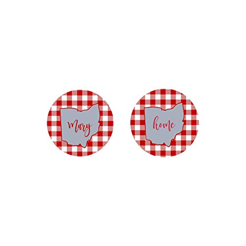 (Ohio State Car Coasters Sandstone Personalized 50 states Red & White Plaid (Set of 2))