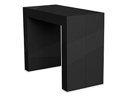 Eco Design Emy - Mesa consola extensible (acabado lacado negro, 4 ...