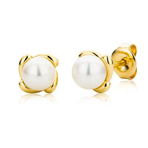 Miore - Boucles d'Oreille Femme - Or Jaune 9 Cts 375/1000 1.12 Gr - Perle d'eau douce