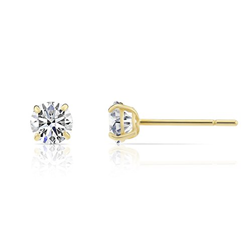 14k Yellow Gold Round Solitaire (14k Yellow Gold Solitaire Round Cubic Zirconia Stud Earrings with Silicone Pushbacks (3mm))