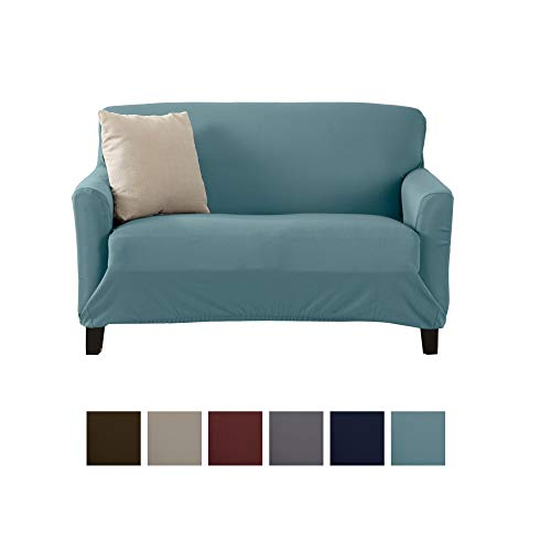 Home Fashion Designs Printed Stretch Loveseat Furniture Cover Slipcover Brenna Collection, Smoke Blue - Solid