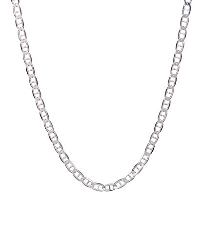 Pori Jewelers 925 Sterling Silver 2mm, 3mm, 3.5mm, 5.5mm Flat Mariner/Marina Link Chain Necklace - Made in Italy - Lobster Claw Closure (18, ()