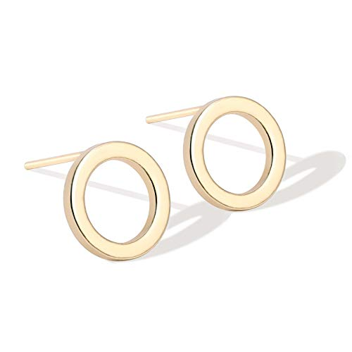 18K Gold Circle Stud Earrings 10MM Small Round Hoop Post Stud for Women Minimalist Jewelry - Circle Stud