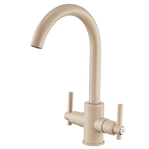 TRNMC Hot Cold Dual-use Spiral Open Kitchen Bathroom Double Sink Faucet,Beige