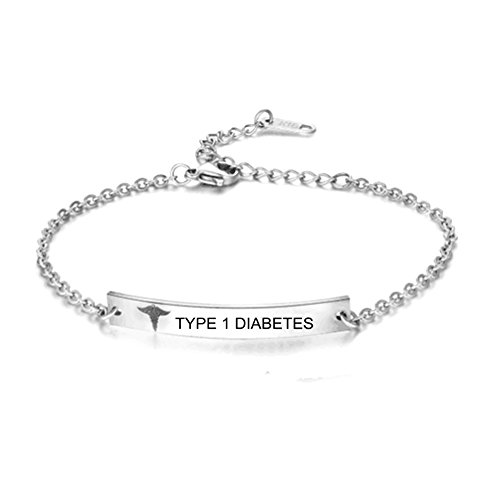Childrens Medical Bracelets - BABYSIS Medical Alert Bracelet -First Alert Bracelet- Personalized Medical ID Bracelet and Child ID For Women (Free Engraving) (S-TYPE 1 DIABETES)