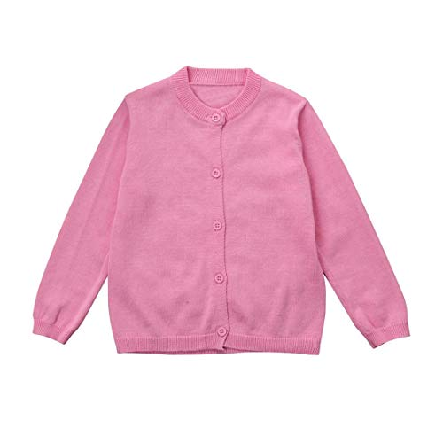 Toddler Kid Boys Girls Knitted Sweater Outerwear Colorful Solid Cardigan Button Coat Tops Fall Winter Clothes 0-3T (Pink, 12-18 Months) ()