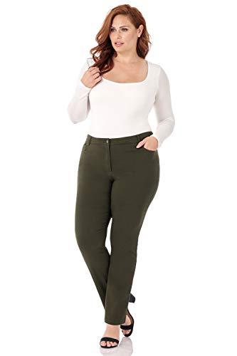 Leg 5 Pocket Wide - Rekucci Curvy Woman 5 Pocket Straight Leg Plus Size Pant w/Zipper (18WSHORT,Olive)