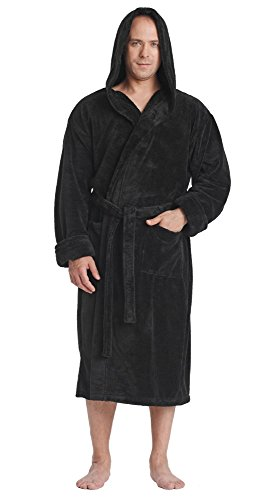 Arus Men's Hooded Satin Touch Fleece Bathrobe Turkish Soft Plush Robe Black XXL by Arus