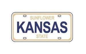 Kansas Mini Metal License Plate Scrapbook Sticker (01550) ()