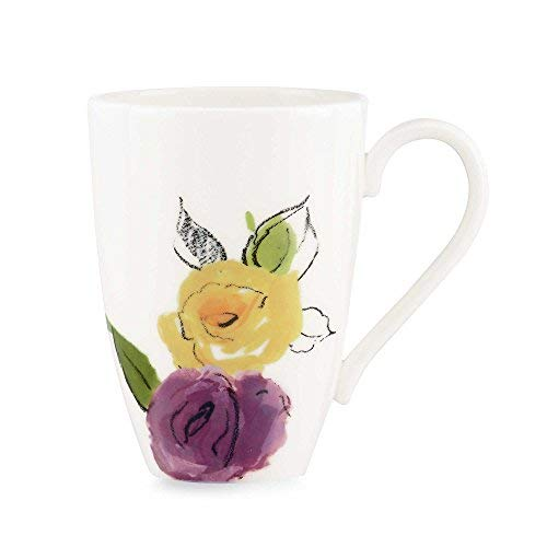 Kate Spade New York by Lenox Charcoal Floral 12 Ounce Porcelain Mug Sketched Yellow Purple Orange Flowers White Background