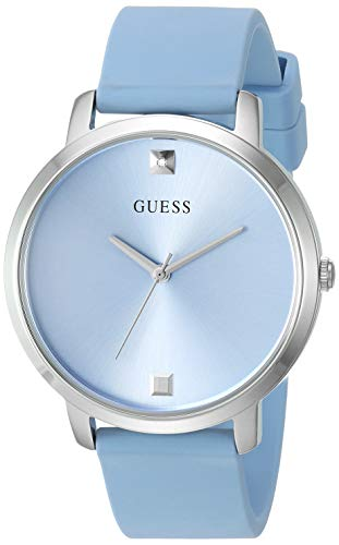 - GUESS Comfortable Silver-Tone + Sky Blue Stain Resistant Silicone Watch with Genuine Diamond Accents. Color: Sky Blue (Model: U1210L4)