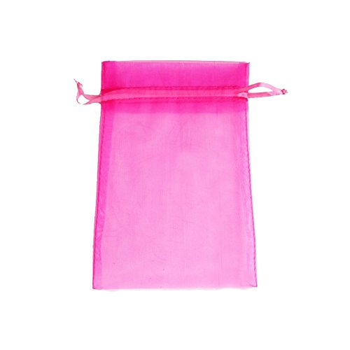 ATCG 100pcs 4x6 Inches Drawstring Organza Pouches Wedding Party Jewelry Favor Gift Candy Bags (HOT PINK)