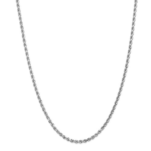 Roy Rose Jewelry Leslies 14K White Gold 3mm Diamond- cut Rope Chain Bracelet ~ Length 8'' inches