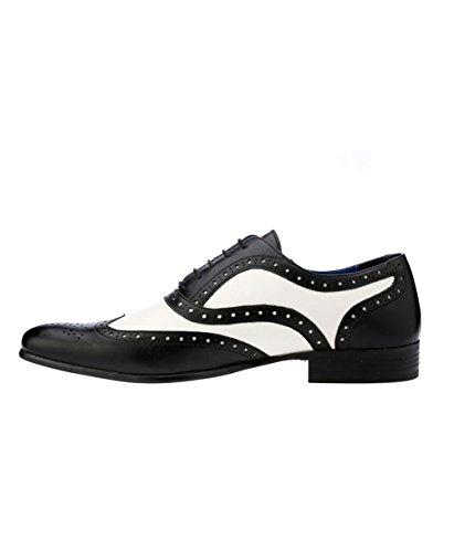 Red Tape Chaussures Gatsby élégant Chaussures richelieu en cuir pour homme Noir/Blanc