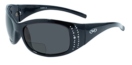 Global Vision Eyewear Marilyn 2 Series 2.5 Magnification Bifocal Sunglasses with Gloss Black Frames and Smoke - Magnification Sports With Sunglasses