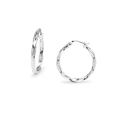 (Sterling Silver 2mm Twist Tube Round Hoop Earrings for Women,)