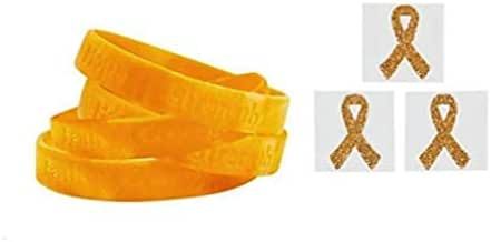 FX 12 Gold Childhood Cancer Awareness Bracelets + Free 12 Gold Face Tattoo Stickers