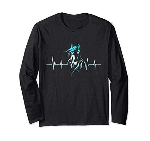 Horse Heartbeat T-Shirt - Horse Lovers Long Sleeve Tee