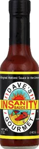 DAVES GOURMET SAUCE HOT INSANITY, 5 OZ PACK OF 12
