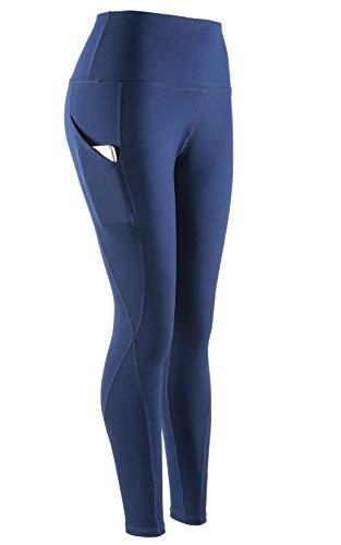 SERHOM Yoga Pants, High Waist Tummy Control Workout Women Yoga Leggings with Pockets M Deep Blue ()