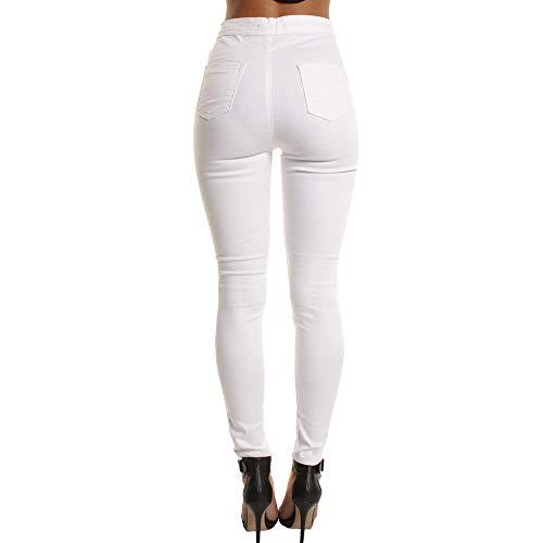 Casuale donne Jeans Slim Pantaloni Buco Ginocchio Strappato Nuovo Puro Lqqstore Colore jeans Donna Magro Lungo Bianco Quotidiani Cerniere qXwxIq7a