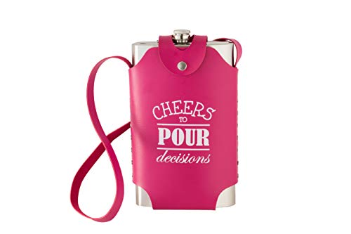 Large Oversized 64 oz Stainless Steel Flask with Pink Strap (Cheers To Pour Decisions) Funny Gift for Her