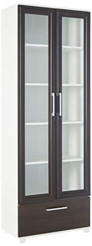 (Manhattan Comforts 75AMC66-MC Serra 1.0-5-Shelf Bookcase in White and Tobacco)