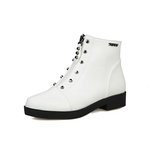 AllhqFashion Women's Low Heels Soft Material Low Top Solid Zipper Boots, White, - Raleigh In Stores Mall