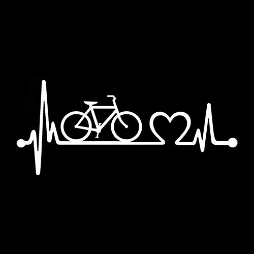 Scrapbooking Stickers & Sticker Machines, Vinyl Decal Sticker, 1PC 18.5cmx8.1cm Bicycle Heartbeat Lifeline Cycling Fashion Vinyl Stickers Decals Stickers For Cars - White