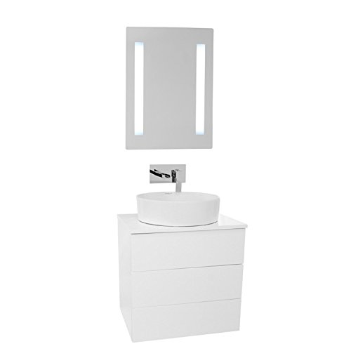 """Iotti Iotti TN475 Time Vessel Sink Bathroom Vanity Wall Mounted with Lighted Mirror Included, 24"""", Glossy White on sale"""