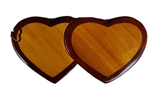 (Handmade Wooden Intarsia TRICK SECRET Multi color double heart Puzzle Box (3213))