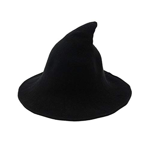 Yezijin Women Witch Hat Foldable Costume Sharp Large Brim Crochet Warm Winter Thick Outdoor Hats (Black)