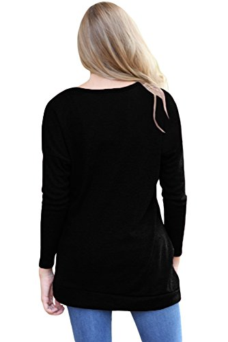 Neuf Noir boutonné côté à manches longues Pull Chemisier de soirée pour femme Tenue décontractée d'été Taille UK 14EU 42