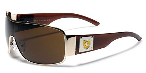 [Khan Men's Retro Fashion Shield Lens Aviator Sunglasses] (80s Male Fashion)