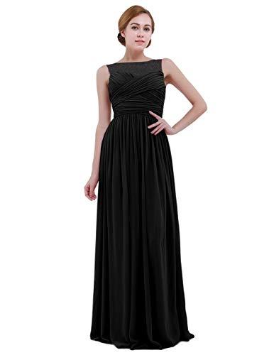Largo Elegante Vestido Noche Marca Festivos De Mujer Novia 77 Schwarz Honor Dama Cóctel Bolawoo Gasa 46 Mode Vestidos 34 7wI0n