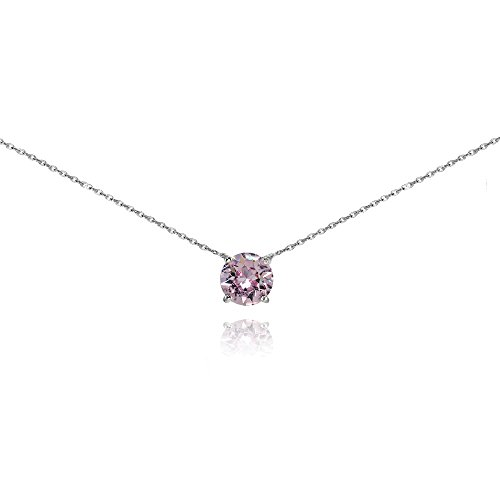 Sterling Silver Pink Solitaire Choker Necklace set with Swarovski Crystal (Silver Pink Crystal Pendant)