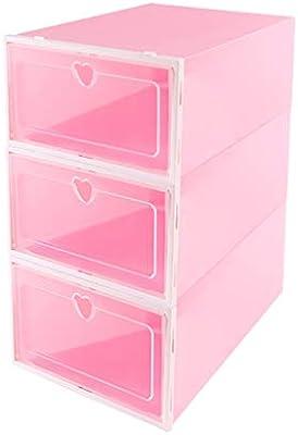 Caja de zapatos apilable Rosa Transparente cajón de plástico Tipo ...