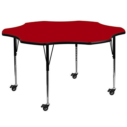 Flash Furniture Mobile 60'' Flower Red Thermal Laminate Activity Table - Standard Height Adjustable Legs