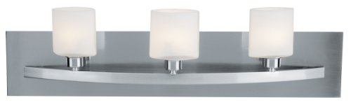 Access Lighting 53303-BS Cosmos 3-Light Wall/Vanity Sconce, Brushed Steel with Opal Glass (Light Fixture Vanity Halogen)