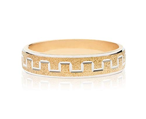 MiaBella 925 Sterling Silver Italian Geometric Stardust Eternity Diamond-Cut Band Ring for Women Men Teen Girls in Choice of Sterling Silver or 18K Yellow Gold Over Silver (Two-Tone, 5)